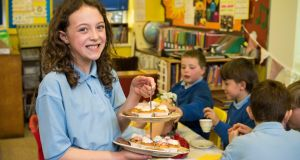 Charlotte Dowie of Bellaghy Controlled Primary School, Magaherafelt, Co Derry, which came up with the idea for a Victorian Tea Room. Photograph: Jerry Kennelly