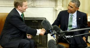 US president Barack Obama (R) welcomes acting Taoiseach Enda Kenny in the Oval Office at the White House in Washington. Photograph: Jonathan Ernst/Reuters