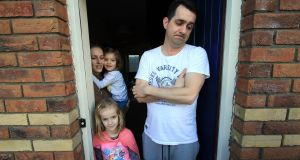 Vampire squid prey: Residents of Cruise Park Drive, Tyrrelstown. Pictured left to right, Alena, Lilian (6), Hannah (4) and Martin Malinowsky. Picture Nick Bradshaw