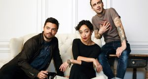 Actors Dominic Cooper, Ruth Negga and Joseph Gilgun of the new TV series 'Preacher' at  SXSW Portrait Studio   on March 14, 2016 in Austin, Texas. (Photo by Smallz & Raskind/Getty Images for Samsung)