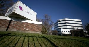 Valeant Pharmaceuticals plunged as much as 42 per cent to the lowest since 2011 after cutting its sales forecast. Photograph: Christinne Muschi/Reuters