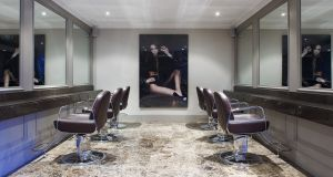 Brown Sugar- Hairdressing Salon-Blackrock-Ireland-marble floor chairs counter mirrors lighting