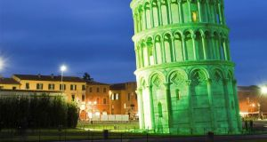 Italy's  Leaning Tower of Pisa going green to mark St Patrick's Day.