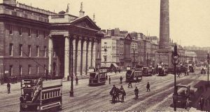 An ordinary day: Sackville Street, now O'Connell Street, with the GPO on the left and Nelson's Pillar,  before the Easter Rising.