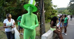 And now for something a bit...further afield: waiting for the St Patrick's Day Parade to start in Salem, Montserrat, in the West Indies. Photograph: Frank Miller/The Irish Times