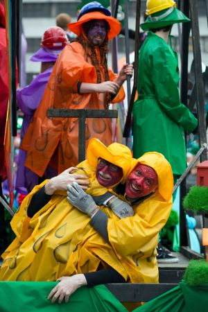 Eoin Mc Cuirc and Francis Segretiel with the Dowtcha Puppets Float at the Cork St Patrick's Festival Parade. Photograph: Clare Keogh