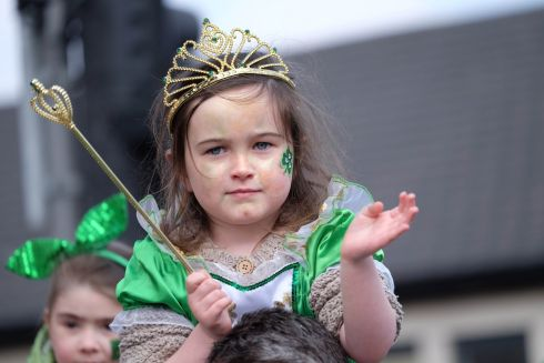 Lilly O'Conner (4) pictured at the Limerick St Patrick's Day parade. Photograph: Don Moloney/Press 22