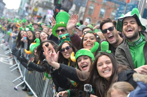 Crowds throng the streets soaking up the atmosphere at the Dublin St Patrick's Day parade. Photograph: Alan Betson / The Irish Times