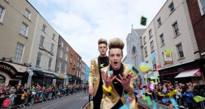 Jedward in action at the Limerick St Patrick's Day parade. Photograph: Don Moloney/Press 22