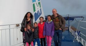 Justin Comiskey and family on board the Irish Ferries' ship the Oscar Wilde