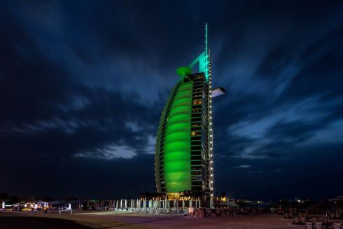 Burj al Arab hotel, Dubai - part of Tourism Ireland's annual Global Greening initiative.