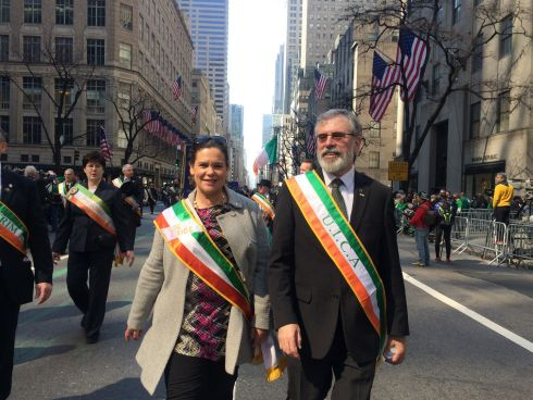 Mary Lou McDonald and Gerry Adams on Fifth Avenue outside St Patrick's Cathedral in New York. Photograph: Simon Carswell