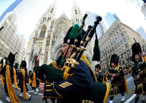 The NYPD Emerald Society Marching band is seen on fifth Avenue during the 255th New York City St Patrick's Day Parade. Photograph: Timothy A Clary/AFP/Getty Images