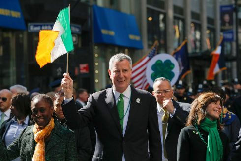 New York Mayor Bill de Blasio marches along the Fifth Avenue in New York. Photograph: Eduardo Munoz/Reuters