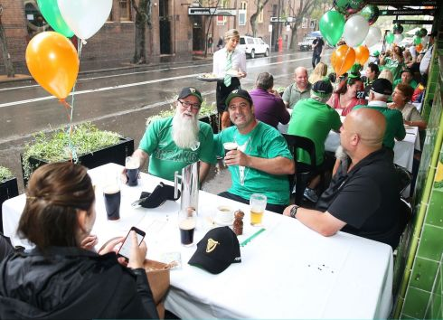 Patrons celebrate St Patrick's Day at the Mercantile Hotel Irish pub in Sydney, Australia. Photograph:  Brendon Thorne/Getty Images