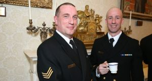 PO/PROG Jason O Brien and WO Robin Finn at St Patrick's Day reception at Áras an Uachtaráin. Photograph: Maxwells Dublin