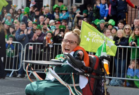 Joanne O'Riordan leading the 2016  St. Patricks Day parade as it winds its way through Dublins main streets. Fine weather and record crowds made the parade  the highlight of the St. Patricks Festival.  Photograph: Alan Betson / The Irish Times
