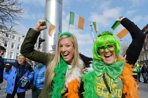 Britney Cubel and Kelsi Latulippe from Indianapolis USA at the 2016  St. Patricks Day parade as it winds its way through Dublins main streets. Fine weather and record crowds made the parade  the highlight of the St. Patricks Festival. Photograph: Alan Betson / The Irish Times