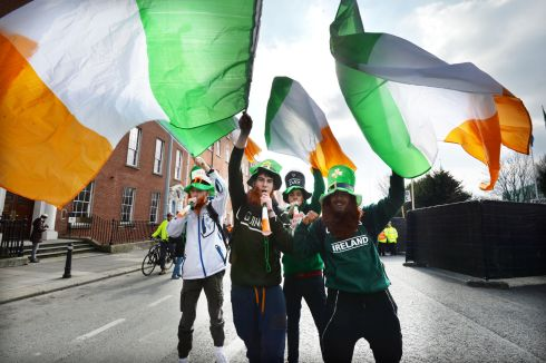 Florian Di-Bin, Corebtin Lopez, Eddy Juan and Nil Hong from France  enjoy the 2016  St. Patricks Day parade as it winds its way through Dublins main streets. Fine weather and record crowds made the parade  the highlight of the St. Patricks Festival. Photograph: Alan Betson / The Irish Times