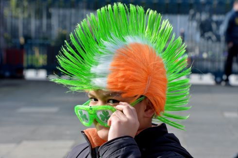 Harly Toyco from Tyrrelstown enjoys the 2016  St. Patricks Day parade as it winds its way through Dublins main streets. Fine weather and record crowds made the parade  the highlight of the St. Patricks Festival.  Photograph: Alan Betson / The Irish Times