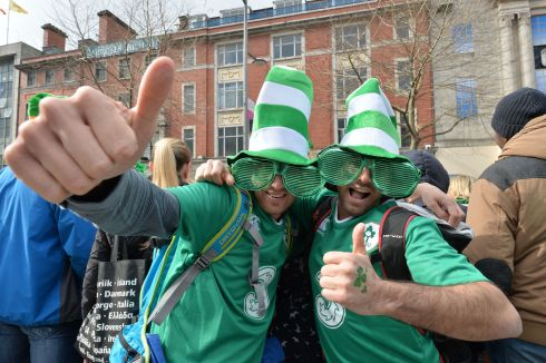 Mathieu Leterme and Cedric Levis from France  enjoy the 2016  St. Patricks Day parade as it winds its way through Dublins main streets. Fine weather and record crowds made the parade  the highlight of the St. Patricks Festival. Photograph: Alan Betson / The Irish Times