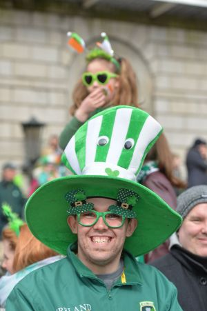 Jason Carragher from Ballymun enjoying the 2016  St. Patricks Day parade as it winds its way through Dublins main streets. Fine weather and record crowds made the parade  the highlight of the St. Patricks Festival. Photograph: Alan Betson / The Irish Times