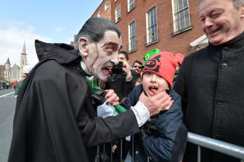 Paddy Drac with Harry Shannon from Limericck  at  the 2016  St. Patricks Day parade as it winds its way through Dublins main streets. Fine weather and record crowds made the parade  the highlight of the St. Patricks Festival. Photograph: Alan Betson / The Irish Times