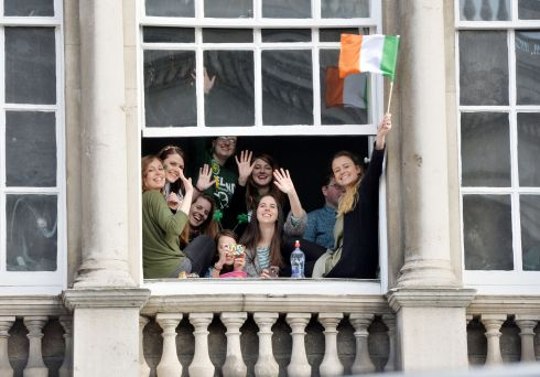 Crowds enjoy the 2016  St. Patricks Day parade as it winds its way through Dublins main streets. Fine weather and record crowds made the parade  the highlight of the St. Patricks Festival.  Photograph: Alan Betson / The Irish Times