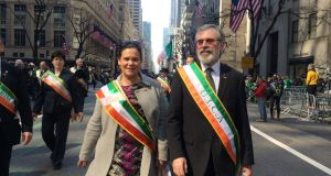 Mary Lou McDonald and Gerry Adams outside St Patrick's Cathedral on Fifth Avenue in New York yesterday. Photograph: Simon Carswell/The Irish Times