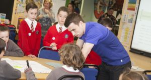 Everton and Republic of Ireland full back Seamus Coleman on a visit to Evelyn Community Primary School in Prescot. Photograph courtesy of Everton FC