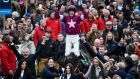 Bryan Cooper on Don Cossack celebrates winning the  Gold Cup at Cheltenham yesterday. Photograph: Dylan Martinez/Reuters