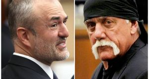 Nick Denton (L), founder of Gawker, and Terry Bollea, aka Hulk Hogan, are seen in a combination of  photographs taken in court in St Petersburg, Florida. Photographs: Agencies