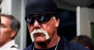 Hulk Hogan, whose given name is Terry Bollea walks out of the courthouse on Friday in St. Petersburg, Florida. Photograph: Eve Edelheit/The Tampa Bay Times via AP