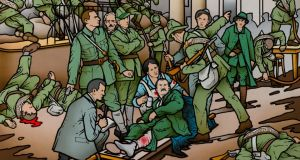 Inside the GPO: Robert Ballagh's depiction – which includes the injured James Connolly on a stretcher – is on show at Glasnevin Cemetery. Painting courtesy of the artist and of the photographer Ciaran Rooney