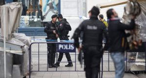 Turkish policemen stand in a cordon  after a suicide bomb attack at Istiklal Street in Istanbul, on Saturday. Photograph: AFP