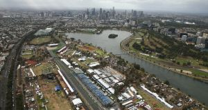 A view over the circuit during qualifying for the Australian Formula One Grand Prix at Albert Park on Saturday. Photograph: Robert Cianflone/Getty Images