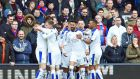 Leicester City's Riyad Mahrez celebrates with his teammates after scoring at Selhurst Park. Photograph: EPA