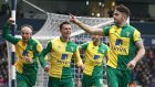Norwich City's Robbie Brady celebrates scoring his side's first goal in the Premier League match against West Brom at The Hawthorns. Photograph:  Martin Rickett/PA Wire