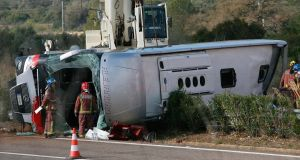 The site of a coach crash that  left at least 14 students dead at the AP-7 motorway. Photograph: EPA