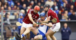 Waterford's Austin Gleeson is challeneged by Paul Hoban and Aidan Harte of Galway during their Allianz League clash. Photo: Ken Sutton/Inpho