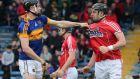 Tipperary's John McGrath and Killian Burke of Cork get involved in a scuffle during their Allianz League encounter. Photo: Lorraine O'Sullivan/Inpho