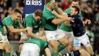 Nathan White and Greig Laidlaw get involved as Donnacha Ryan and Conor Murray congratulate Ireland try scorer Devin Toner. Photograph: Morgan Treacy/Inpho