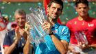 Novak Djokovic after his victory over Milos Raonic at Indian Wells. Photograph: Getty