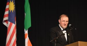 Irish Ambassador to Malaysia, Eamon Hickey, addressing the St Patrick's Ball.