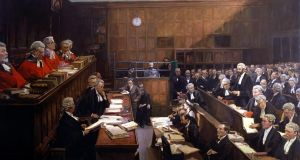 Fighting for his life: The Trial of Roger Casement, 1916, painted by John Lavery. Photograph:  Crown copyright/ UK Government art collection/Courtesy Royal Irish Academy