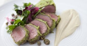 Gary O'Hanlon's Irish lamb loin, baba ganoush, coriander, caper, red onion  & lemon salad