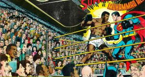 The wraparound cover for DC's extraordinary Superman v Muhammad Ali from 1978