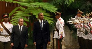 Obama didn't touch down in Havana with an apology in his pocket for the US having first slathered Cuba in sleaze, organised an invasion by far-right desperadoes, made at least five attempts on Fidel Castro's life, imposed a blockade in an effort to impoverish the country into submission and erected an internment camp on its soil where perceived enemies of the US could be tortured, some to death. Alejandro Ernesto/EPA.
