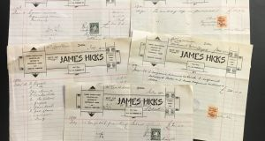 Receipt from James Hicks on Lower Pembroke Street, who repaired the painting