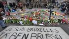 A banner for the victims of the Brussels bombings reads 'I am Brussels' at the Place de la Bourse in  Belgium. Photograph: Martin Meissner/AP Photo
